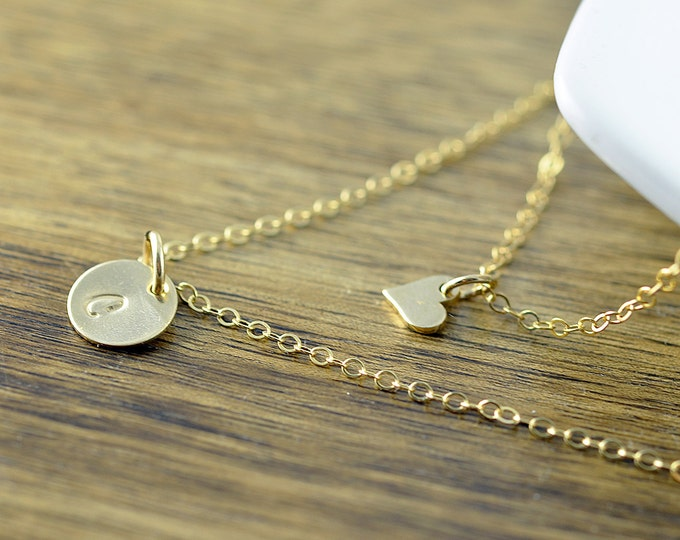Layered Necklace - Delicate Gold Necklace - Simple Necklace - Initial Necklace - Everyday Necklace - Bridesmaid Gift - Best Friend Gift