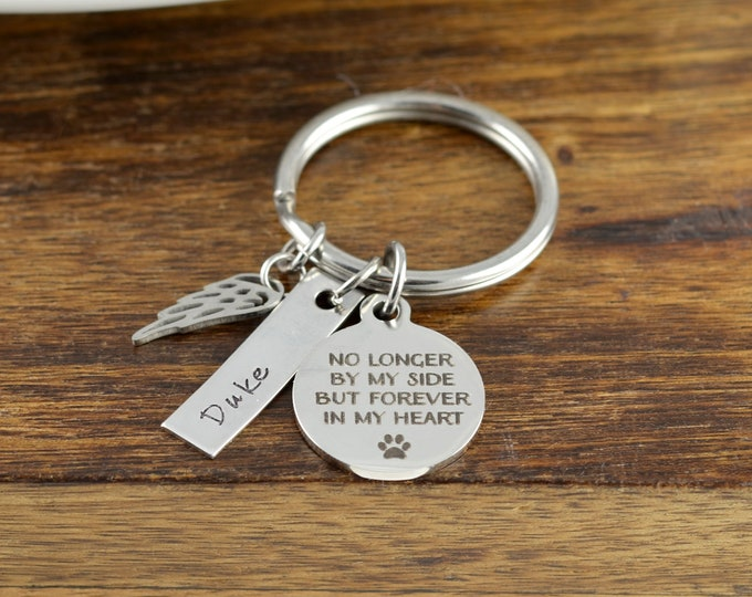 No longer by my side forever in my heart KeyChain, Dog Memorial Gift Personalized, Dog loss Gift, Pet Memorial Keychain, Pet Loss Keychain