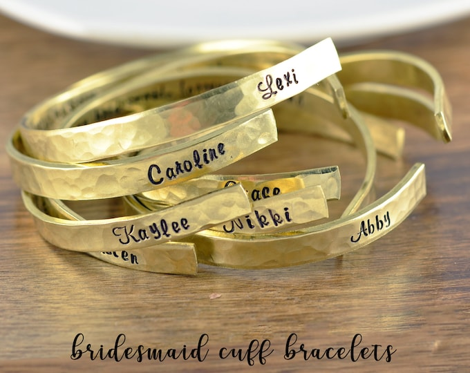 Bridesmaid Gift, Maid of Honor Gift, Sister Jewelry, Best Friend Bracelets, Bridesmaid Bracelets, BFF Cuff, Gold Cuff Bracelet