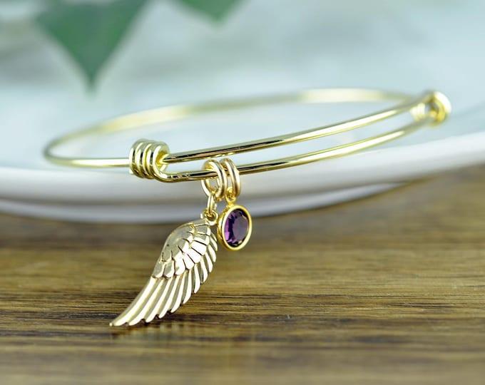 Angel Wing Bracelet, Friendship Bracelet, Angel Wing Jewelry, Angel Wing Bangle Bracelet, Birthstone Bangle, Memorial Jewelry
