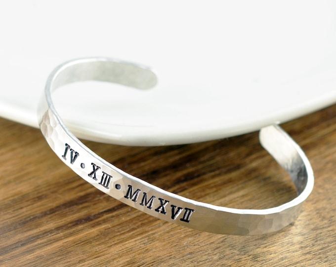Roman Numeral Cuff Bracelet, Custom Date Jewelry, Birthday, Anniversary, Wedding Date Bracelet, Roman Dates Jewelry Custom Bracelet