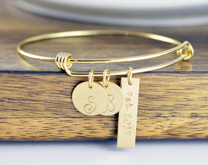Gold Bracelet Bangle, Personalized Bracelet, Initial Bracelet, Wedding Date Jewelry, Date Bracelet, Anniversary Gift for Wife