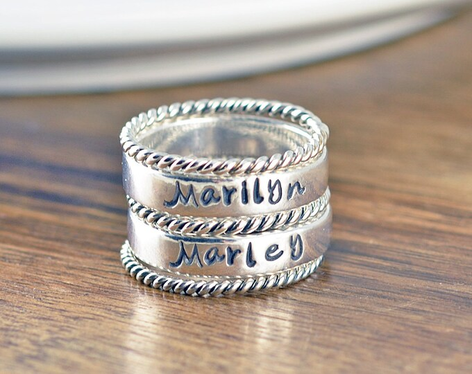 Kids Name Jewelry - Stackable Name Rings - Personalized Stacking Ring - Gift for Mom -  Name Rings  - Mothers Jewelry - Mothers Ring