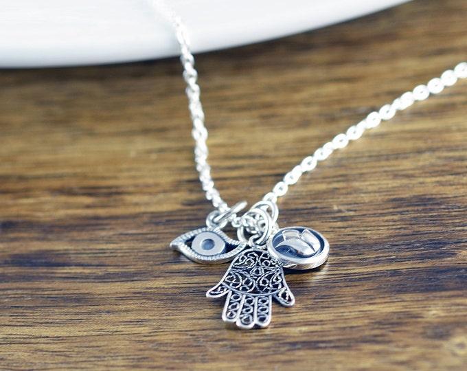 Multi Charm Necklace -  Evil Eye Hamsa Necklace - Hand of Fatima-  Evil Eye Necklace - Protection Gift - Yoga Jewelry - Yoga Necklace