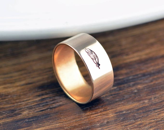 Feather Ring, Hand Stamped Ring, Personalized Ring, Boho Jewelry, Boho Rings for Women, Brass Ring, Women Gifts, Gift for Her