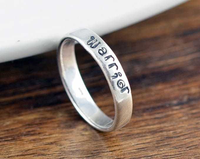 Sterling Silver Ring, Warrior Ring, Hand Stamped Ring, Personalized Ring, Personalized Jewelry, Inspirational Ring, Inspirational Jewelry