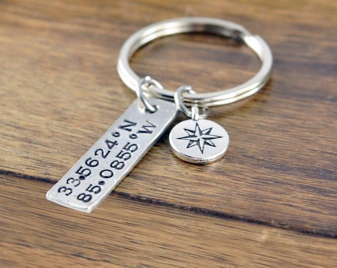 Latitude Longitude Keychain, Custom Coordinates, Coordinate Jewelry, Coordinates Gift,Coordinate Keychain,Valentine's Gift,Personalized Gift