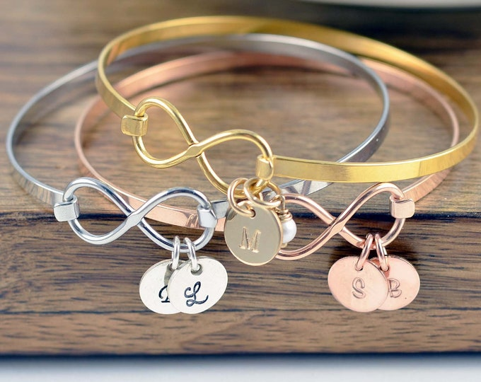 Personalized Mothers Day Bracelet, Infinity Bangle Bracelet, Mother's Day Gift Personalized Infinity Jewelry Personalized gift Handmade Gift