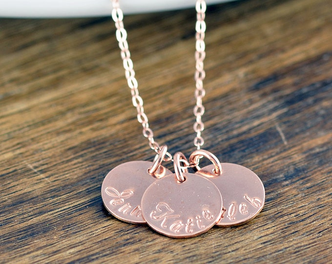 Rose Gold Jewelry, Rose Gold Necklace, Name Necklace, Personalized Name Necklace, Disk Necklace, Custom Name, Custom Circle Necklace