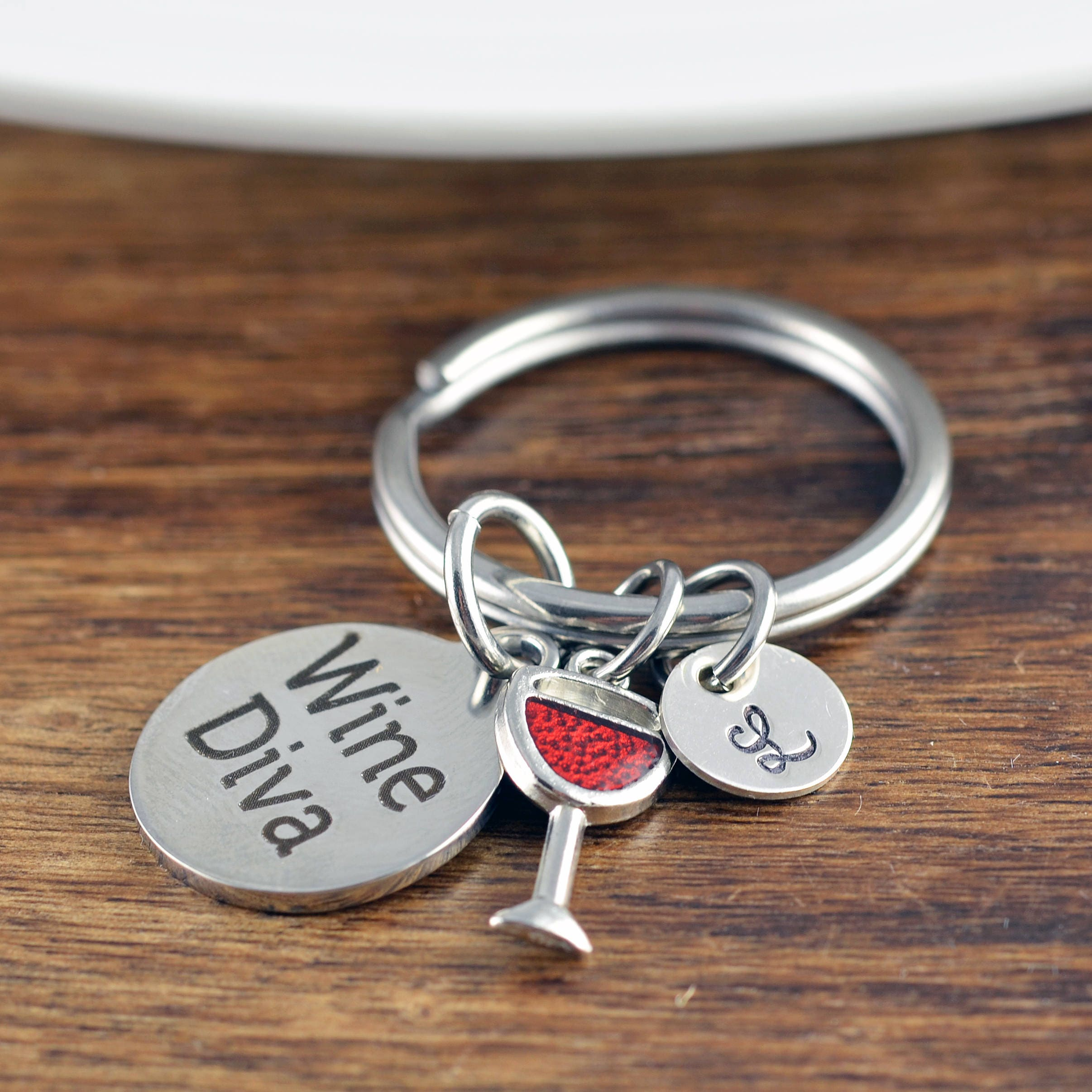 Personalized KeyChain - Wine Diva- Wine Lover Gift - Wine Lover Gifts for  Women - Gift for Her - Engraved Keychain - Initial Keychain d76f129073