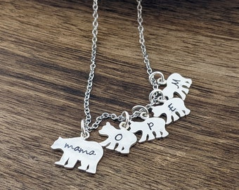 Mama Bear, Baby Bear Necklace - Mama Bear Jewelry - Bear Cubs Necklace - Bear Cub Jewelry - Mothers Necklace - Mom Necklace - Daughter Gift