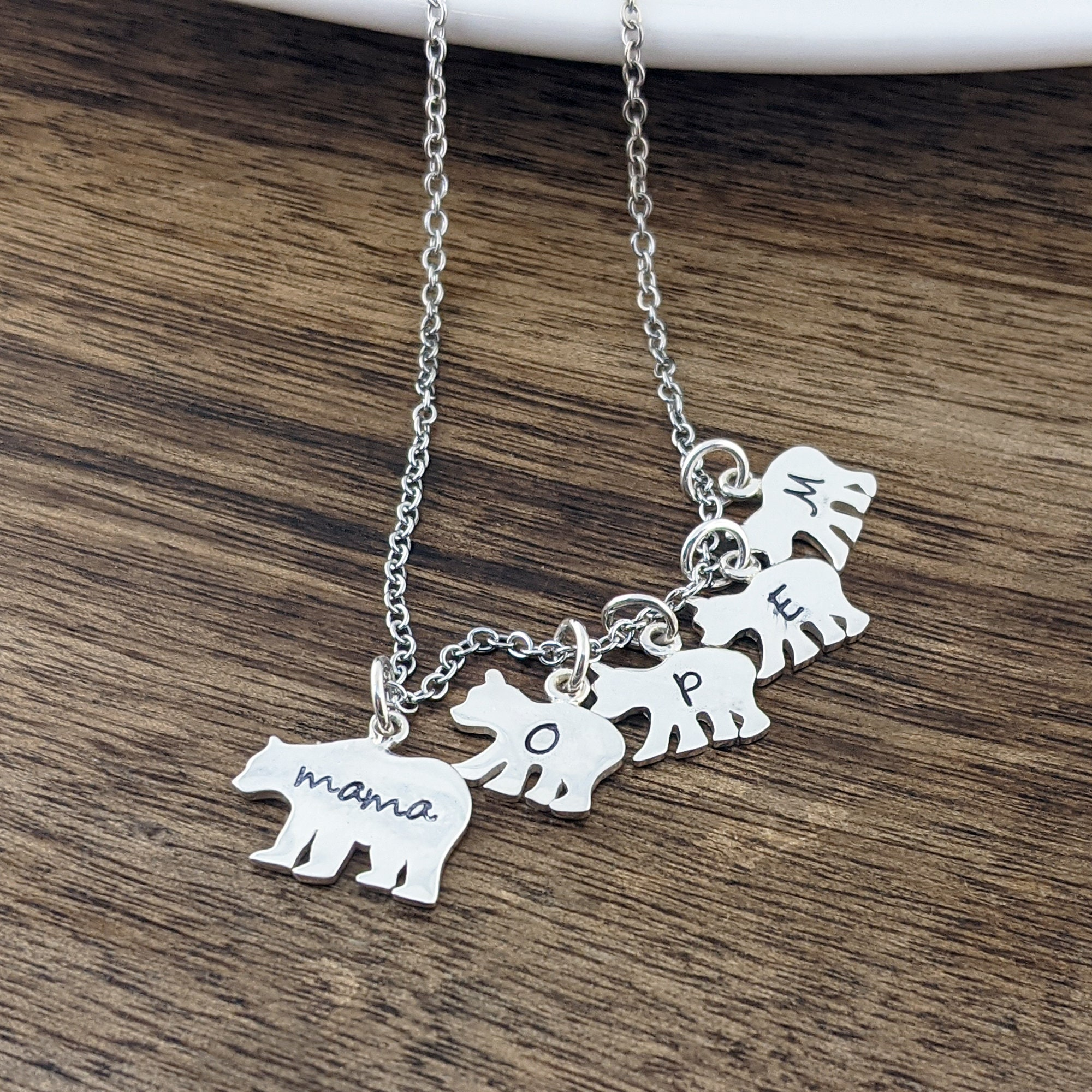 Mom Necklace Bear Cubs Necklace Bear Cub Jewelry Baby Bear Necklace Mama Bear Jewelry Daughter Gift Mothers Necklace