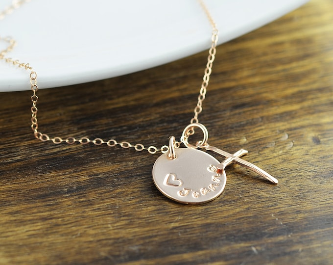 Rose Gold Cross Necklace -Personalized Name Necklace, Personalized Hand Stamped Necklace, Rose Gold Jewelry, Cross Necklace, Gift for Her