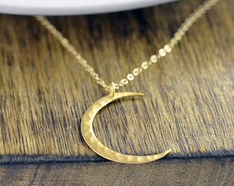 Crescent Moon Necklace, Moon Necklace, Gold Hammered Moon Necklace, Gold Crescent Moon Necklace, Love You To The Moon And Back, Gift