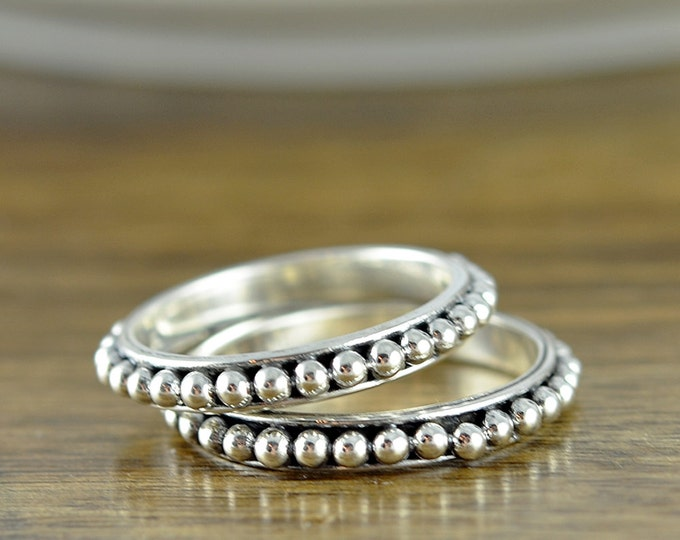 Beaded Sterling Silver Ring, Beaded Ring, Minimal Beaded Silver Ring, Stacking Silver Ring, Stacking Rings, Boho Ring, Unique Gifts