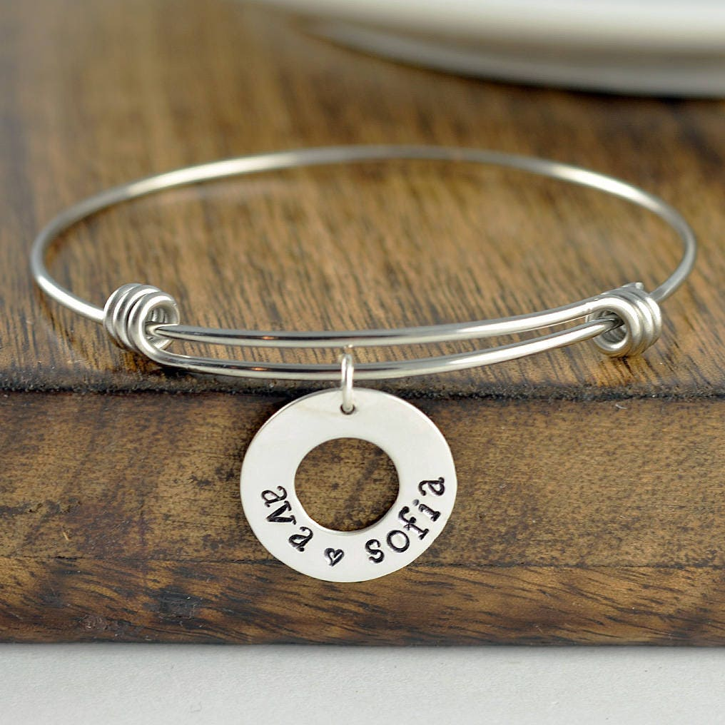 Washer Bracelet Personalized Mothers Jewelry Mom Gift