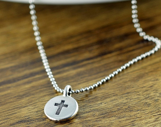Mens Cross Necklace - Silver Cross Necklace - Mens Cross Necklace - Cross Necklace - Gift for Men - Mens Gift - Christian Gifts