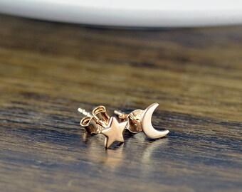 rose gold stud earrings -  star and moon earrings - stud earrings - celestial star and moon earrings - tiny stud earrings - cute earrings