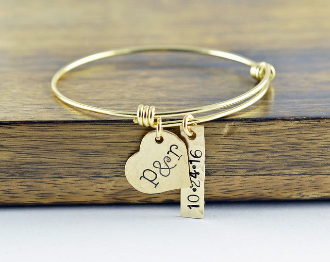 Initial Heart Bracelet, Gold Bangle Bracelet, Heart Charm Bracelet, Wedding Date Jewelry, Date Bracelet, Anniversary Gift for Wife