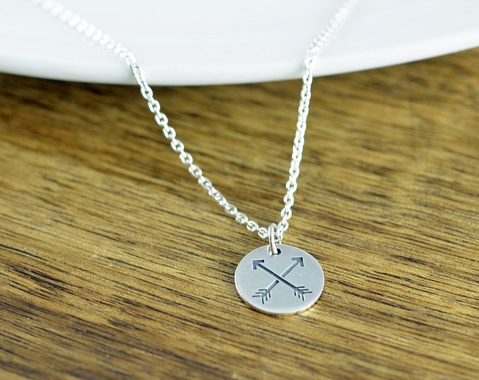 Crossed Arrow Necklace, Friendship Necklace, Friendship Arrows Necklace, Crossed Arrows Charm, Best Friend Gift, Gift for BFF