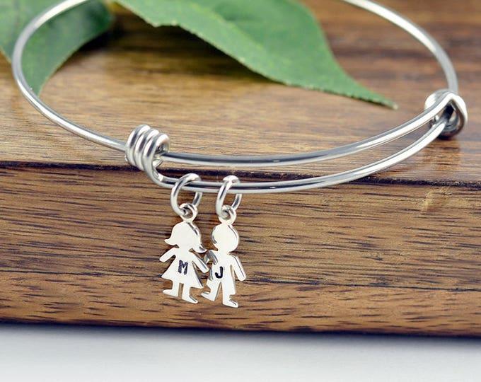 Personalized Silver Boy Charm Bracelet, Girl Charm , Custom Engraved Bracelet, New Mom Gift, Mother Bracelet, New Baby, Gift for Her