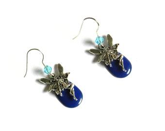 Earrings, fairy, blue, enameled sequins, fantasy, magical, fantastic