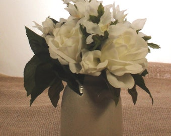 Stephanotis etsy mini white ceramic crock farmhouse decor silk flowers white roses white stephanotis free shipping mightylinksfo