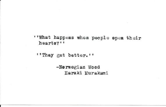 Haruki Murakami Norwegian Wood Hand Typed Vintage Typewrite Quote