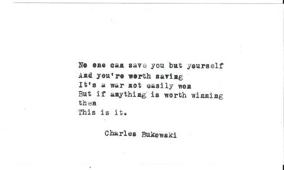 Charles Bukowski Hand Escrito Cotización De Máquina De Escribir Vintage