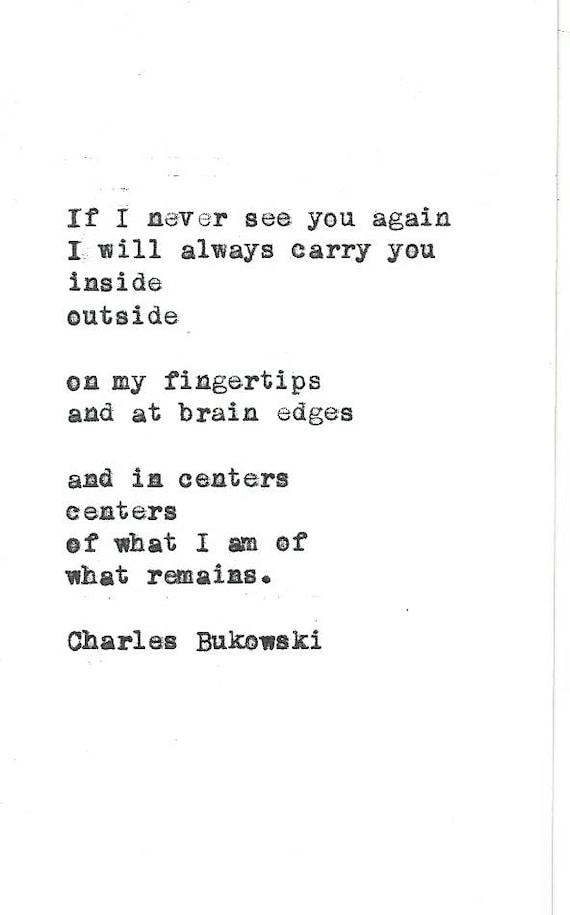 Charles Bukowski Poem Hand Typed Vintage Typewriter Quote Etsy