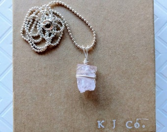 Darling Square Rose Quartz Pendant Wire Wrapped Necklace