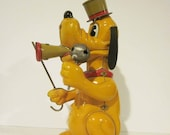 Walt Disney Productions Pluto Drum Major Tin Litho Windup by Linemar 1950s