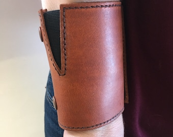 Wrist Wallet Leather Wrist Wallet, Leather Cuff Wallet Unique Gift, Travel Wallet Leather, Leather Wallet for Women Tan with Brown Stitching