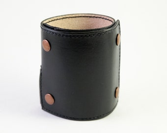 Wrist Wallet Leather Wrist Wallet, Leather Cuff Wallet, Leather Cuff Bracelet, Wrist Wallet for Women, Men's Wallet, Black with Black Thread