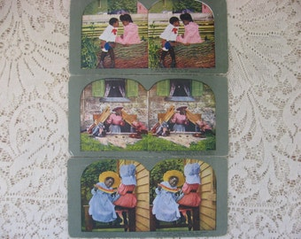 Ingersoll Stereoscope, Stereoscope Card, Americana Stereoscope,Antique Cards, Stereoview Cards,Group of 3,Story Cards