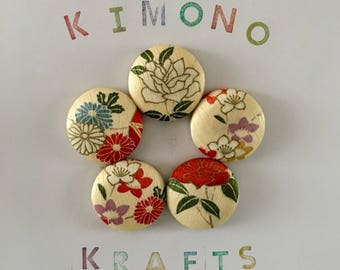 "Magnets Set of Five Vintage Japanese Kimono Fabric 1.5 Inch - ""Buttercup"""