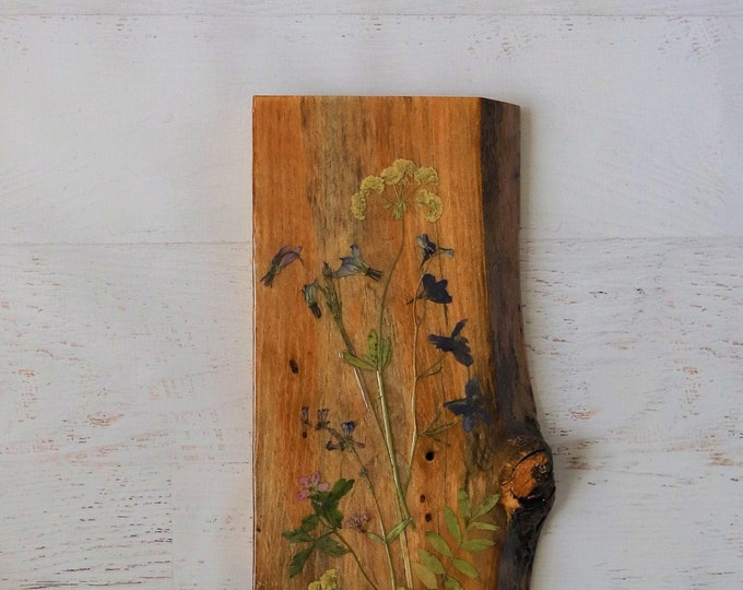Wildflower Art! Real Wildflowers from Idaho on live edge pine wood to hang on your wall. Country Chic