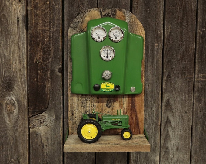 John Deere Tractor Dash Barn Board Shelf - Perfect for your toy tractor in your entry way, man cave, living room, bedroom or shop.