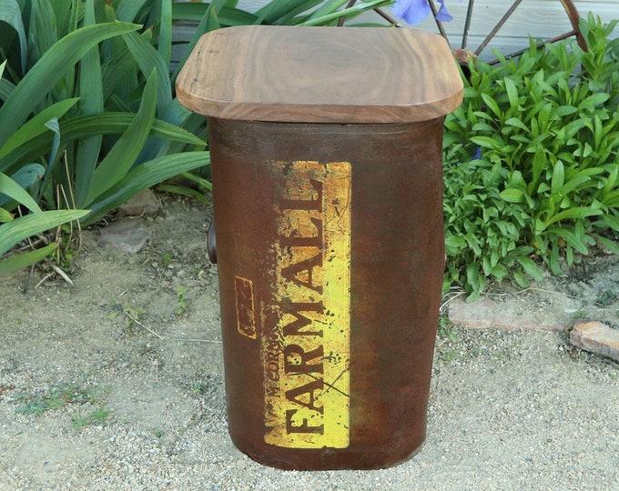 McCormick Farmall Tractor Rustic Gas Tank End Table w/ Walnut Top, Vintage Collectible, original rustic condition Farmhouse Decor!