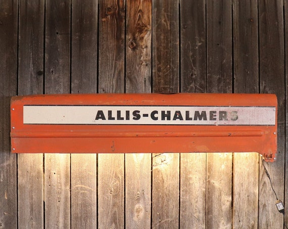 """Allis Chalmers Tractor side Panel Man Cave Light. 50"""" Would look great in a living room, shop, game room, bar, restaurant, or Man Cave."""