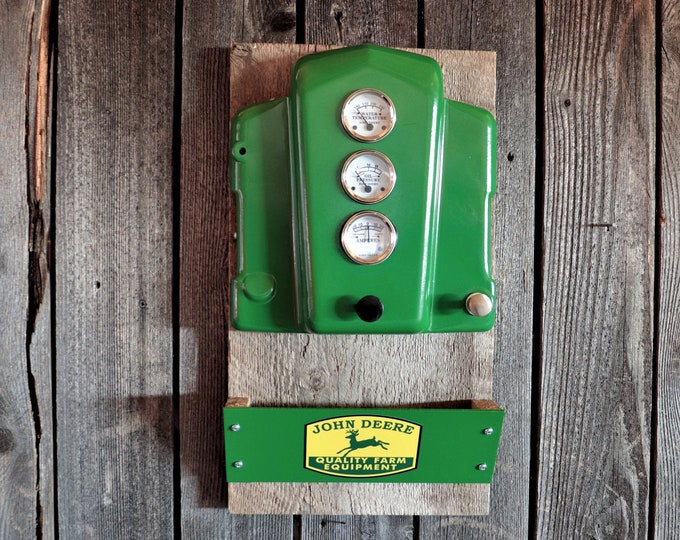 John Deere Tractor Dash Mail Holder with rustic barn boards. Perfect for your entryway or anywhere you want to add some country charm to..