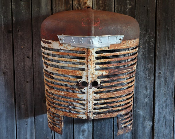 Rustic Antique Farmall Tractor Grill Wall Hanging with great patina and a light for your Man Cave, Garage, Shop, Living Room, Great Wall Art