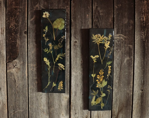 Wildflower Wood Art with Epoxy Resin! Real Wild flowers from Idaho on pine wood to hang on your wall. Give your place a little bit of nature