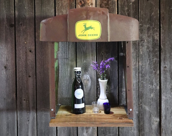 John Deere Tractor Grill 520 barn board shelf with battery operated LED light - Tractor Grill Wall Art - Brewery - Man Cave - Farmer