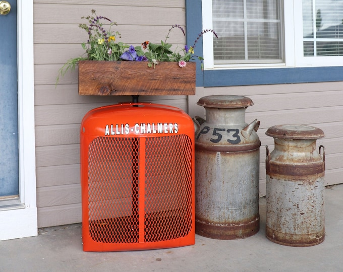 Allis Chalmers Tractor Grill Garden Flower Box or Herb Box made with barn boards, this will look great in your garden or house.