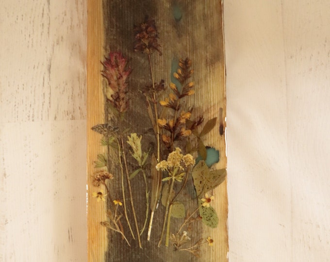Wildflower Wood Art with Epoxy Resin! Real Wild flowers from Idaho on live edge pine wood to hang on your wall. Yellow flowers. Country Chic