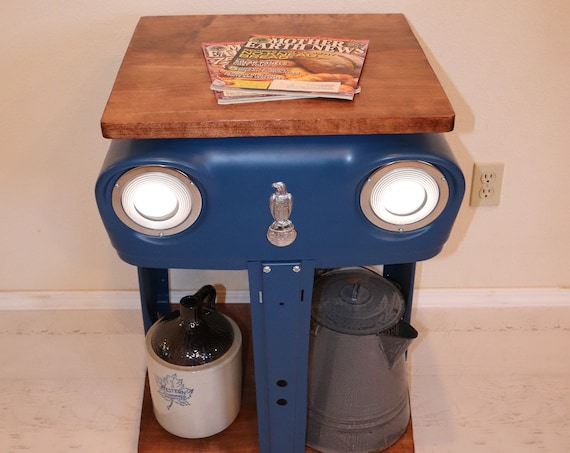 Case Tractor Grill Table with working headlights and a maple wood top and bottom. Great for beside your bed or sofa. Farmers would love this
