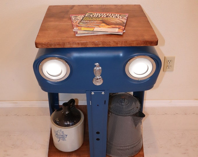 Case Tractor Grill Table with working headlights and a maple wood top and bottom. Great for beside your bed or sofa.