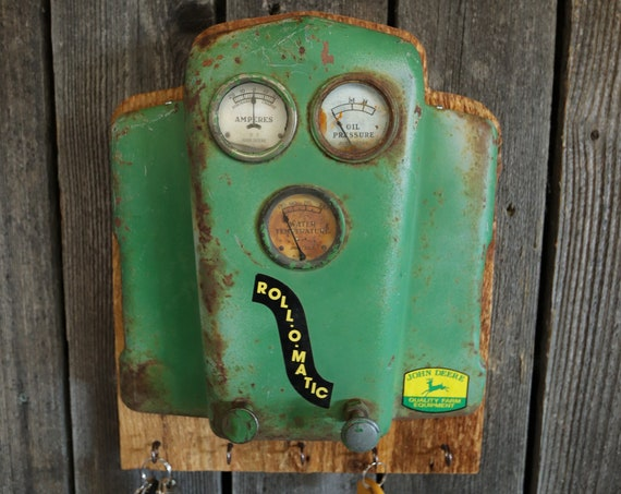 John Deere Tractor Dash Key Holder on a barn board - Rustic