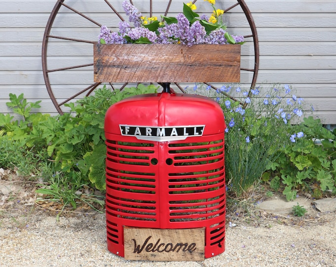 Farmall Tractor Grill Garden Flower Box or Herb Box made with barn boards, this will look great in your garden or house
